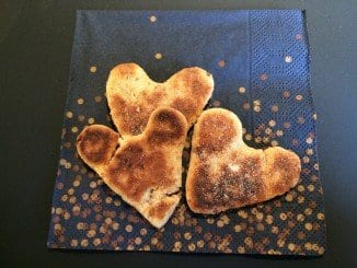 Espresso heart shaped pancakes