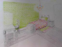 coloured rendering of child's bedroom design