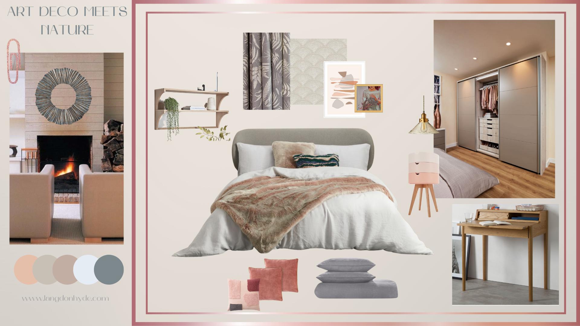 Art Deco meets nature bedroom moodboard