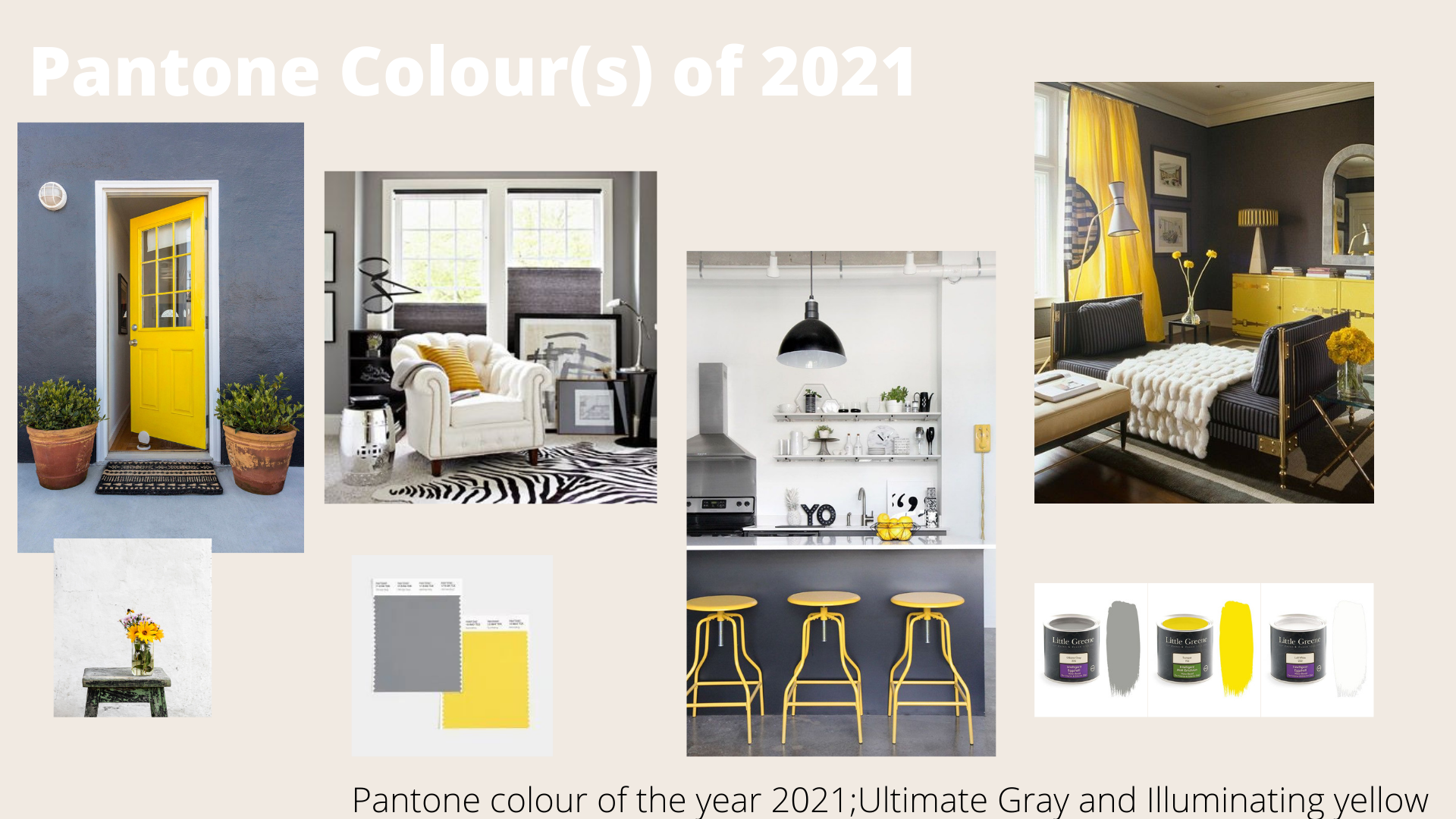 Gray and yellow mood board