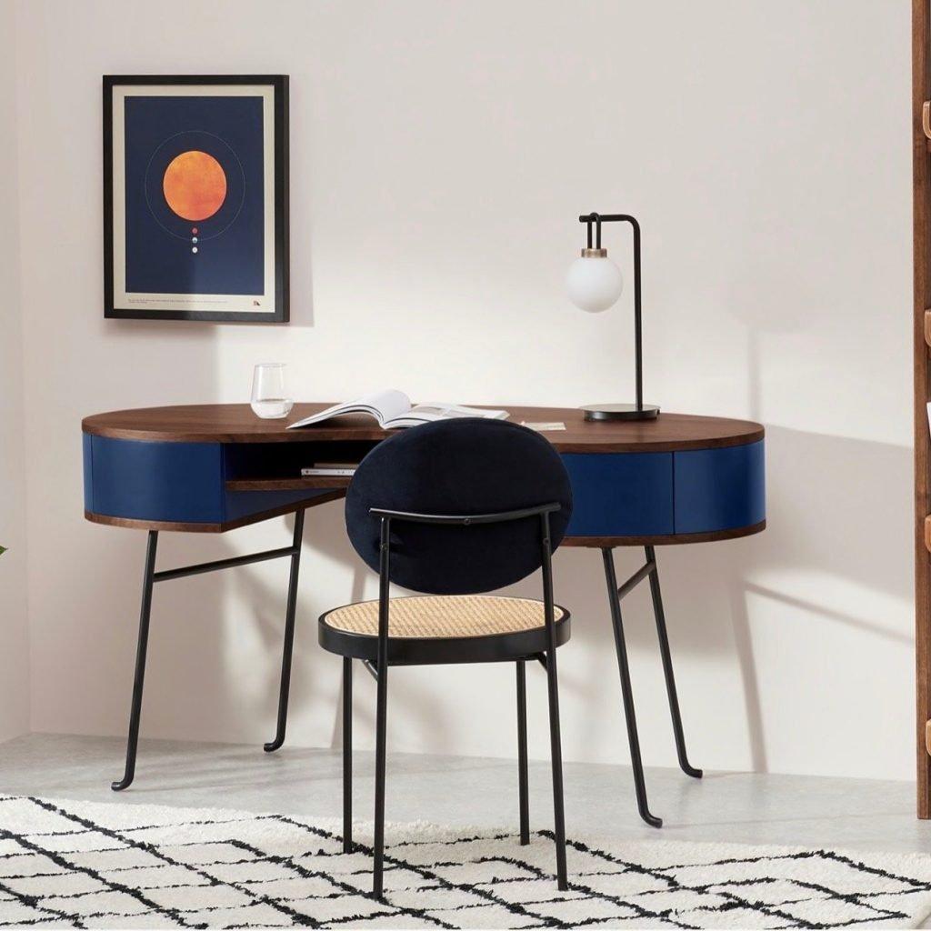 Walnut/blue Pendlebury desk