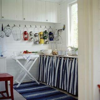 Laundry room under worktop curtain