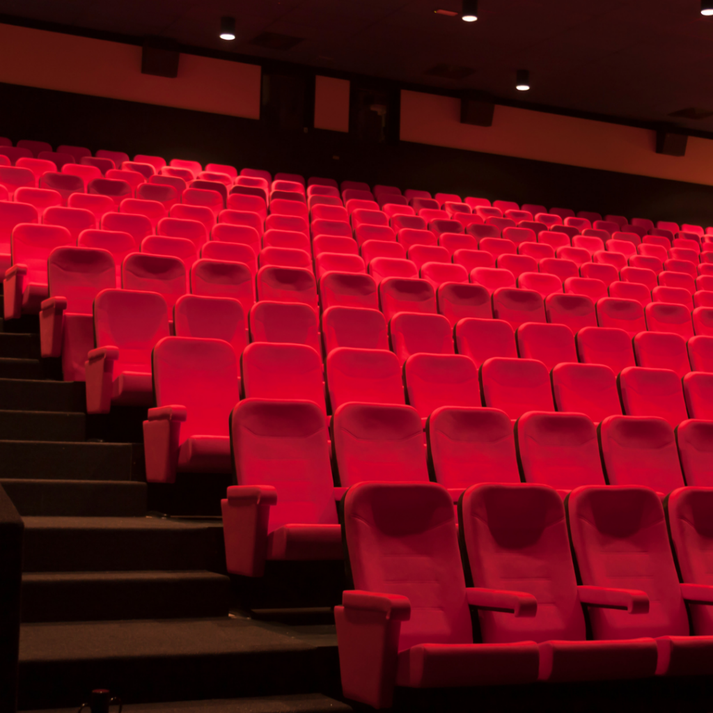 Banks of seating in a commercial cinema