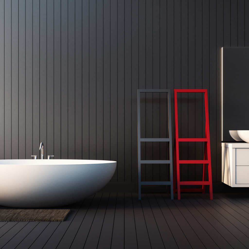 White bath set against black tongue and groove with red ladder